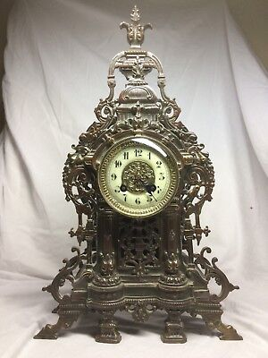 L P Japy & Cie. Fully restored 8 day French bronze mantel striking clock