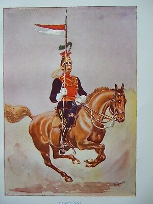 Vintage Military Print- Trooper The 5Th Lancers 1914 By Major R M Barnes