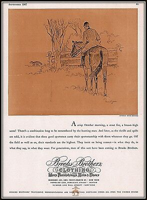 1937 c AD BROOKS BROTHERS CLOTHING BROWN ART FOX HUNTING SKETCH
