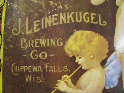 Early & Rare Leinenkugel Beer Tray With Woman in a Dress, Cherub Playing Flute