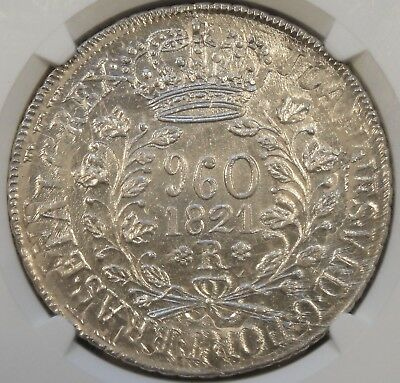 Brazil 1809-R 960 Reis NGC MS65 Top Pop Overstruck on 1809 Bolivia PTS 8 Reales