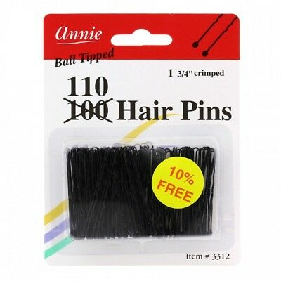 Annie 100 Hair Pins Ball Tipped Bobby Pin Hair Clips Three Sizes Black #3317