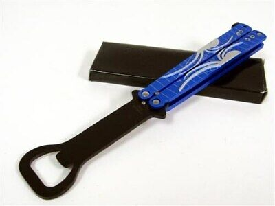 Blue Spider Bottle Opener Balisong Butterfly Practice Training Knife Trainer