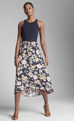 570d3133a3 GAP FIT AND Flare Midi Dress In Mix-Fabric- Navy Floral Nwt L Tall ...