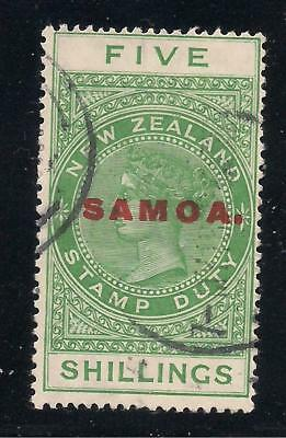 SAMOA  1917  opt  5s yellow-green  p141/2x14  SG130  FU