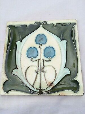 "Antique Art Nouveau Minton Hollins & Co Glazed Tile, 6 x 6""."