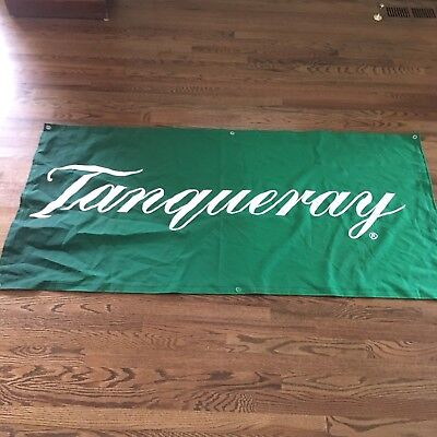 Vintage Tanqueray Gin Martini Green Flag Bar Sign Man Cave Decor 29 By 60