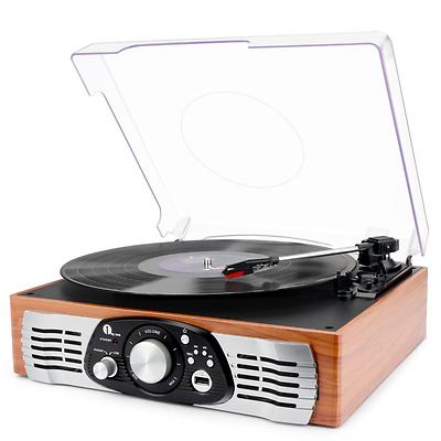 Belt-Drive 3-Speed Stereo Turntable with Built in Speakers, Supports Vinyl to MP