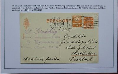 """Denmark. Stationery card sent from Randers to Mecklenburg with """"TMS"""" postmark."""