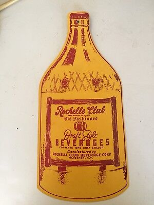 Vintage Rochelle Club Beverage Corp. Hanging Sign Shape Of A Bottle