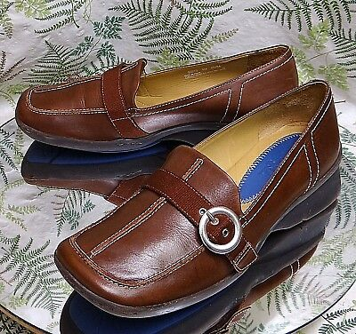 36075047fcd2 Clarks Brown Leather Loafers Slip Ons Work Dress Comfort Shoes Us Womens Sz  9 M