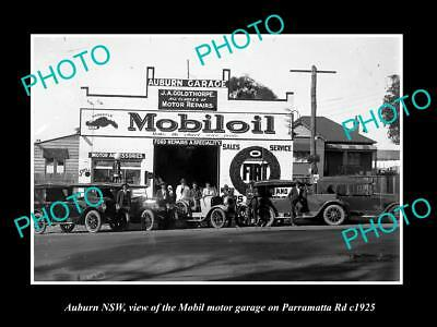 OLD LARGE HISTORIC PHOTO OF AUBURN NSW, THE MOBIL OIL MOTOR GARAGE c1925