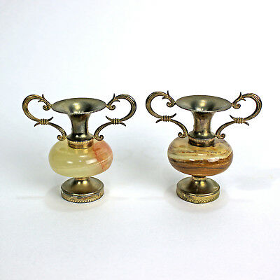 Vintage Metal and Onyx Miniature Urns | BOMBONIERE | Lot of 2 | Made in Italy