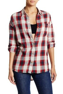 GREATLY REDUCED! Obey Womens Montague Button Down Black//Red XS