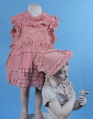 Sweet Antique 1920'S Child'S Crepe Paper Dress Costume W Ruffle Trims