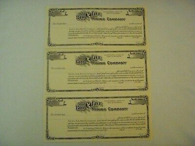 The Big Five Mining Co Lot of 3 Unissued Stock Certificates
