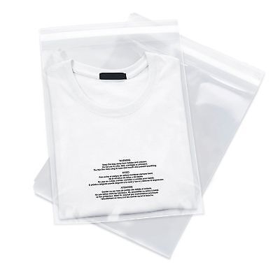 500 12x18 Poly Bags Resealable Suffocation Warning Clear Merchandise 1.5 mil