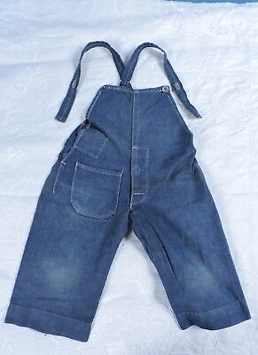 Antique 1920'S Child'S Denim Overalls With Button Fly & Patch Pocket