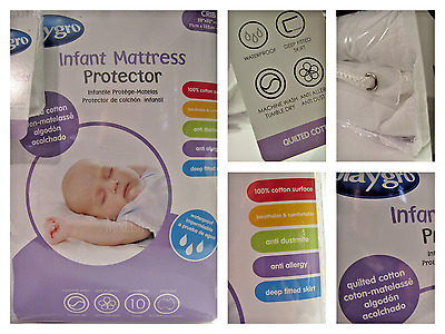 New Playgro Infant Quilted White Cotton Anti Allergy Waterproof Mattress Pad