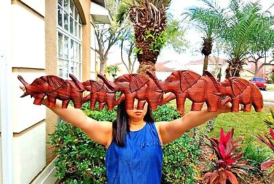 """GORGEOUS 38"""" x 6.5"""" HANDCARVED TEAK WOOD """"FAMILY OF ELEPHANTS"""" POINTING LEFT!!"""