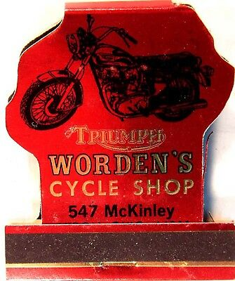 NEAR MINT 1970s Worden's Triumph Cycle Shop metallic Full Match Book Akron OH
