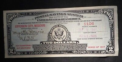 Series 1917- Two Dollar $2 Postal Savings System Note- Jeff City, MO- 1936 Issue