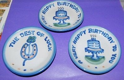 M.A.Hadley Pottery (2)  A Very Happy Birthday To You, Best Of Luck  Hand Painted