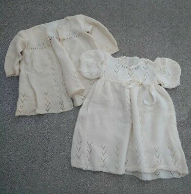 Vintage Baby Girl Handmade Acrylic Knit Dress and Sweater Set Size 6-9 months