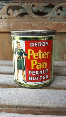Vintage Derby Peter Pan peanut butter 1lb tin litho can with original lid