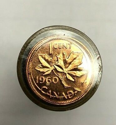 roll of uncirculated 1960  Canadian Cents Coins Canada penny  SD