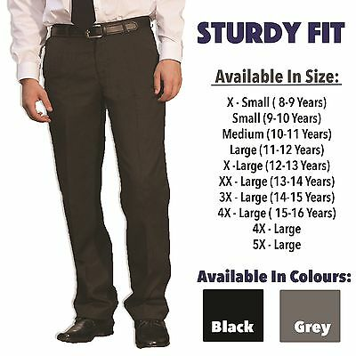Boys School Plus Size Generous Fit Sturdy Trousers Chunky Elasticated Back