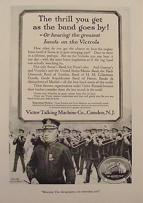 1919 VICTOR Talking Machine SOUSA & His Brass Band Marching Print Ad Nipper