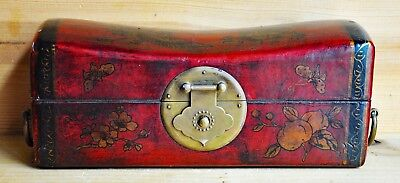 "Antique Chinese Wooden Chest Dragons Flowers Flying Butterflies Handles 11"" long"