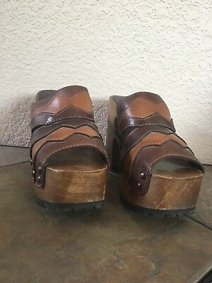 MIA vintage Leather And Wood Platform Sandals