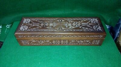 Large Vintage Hand Carved Wooden Box , possibly Knitting needle / sewing box