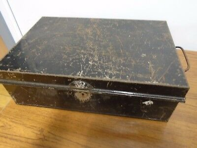 Vintage Metal Strong Box Deeds Documents Money