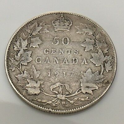 1917 Canada Fifty 50 Cents Half Dollar Silver Circulated Canadian Coin F653
