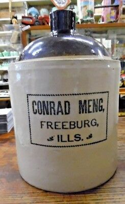 HTF ANTQ Conrad Meng Freeburg Illinois Whiskey Liquor Jug Crock