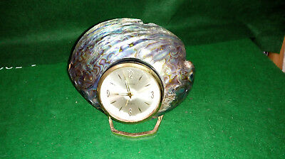 Vintage Europa Mechanical / Wind Up Alarm Clock in Paua Shell  7 Jewels
