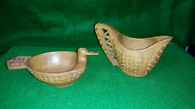 SCANDINAVIAN WOODEN CARVED LIBATION CUP / JUG and DUCK HEAD BOWL