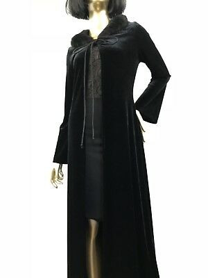 L.A. GLO - 90's- Vintage SZ M Long Black- Velveteen- Faux Fur Collar- Coat- Cape