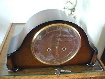 Vintage Smiths Enfield British 8 Day Ting Tang Striking Mantle Clock Vg Cond