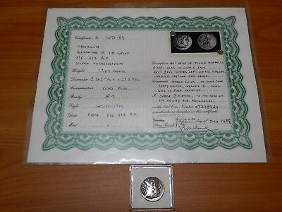 336-323 BC Alexander III, the Great Ancient Greek Silver Tetradrachm VF with COA