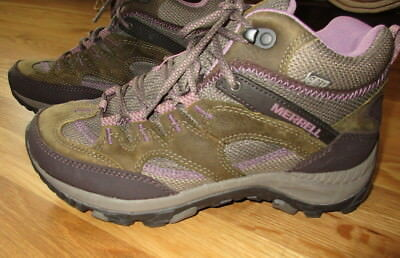 3b531be356a WOMEN'S MERRELL SALIDA Mid Waterproof Hiking Boots PURPLE & GREEN 9 ~  EXCELLENT