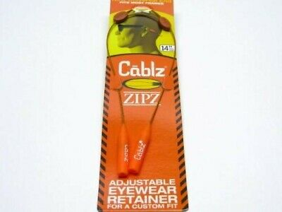 Cablz Sunglasses Glasses Holder Zipz White Orange Adjustable Eyewear Retainer