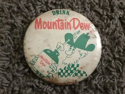 Vintage Mountain Dew Pin Back Button  Rare Willy Hillbilly Mountain Dew Jug