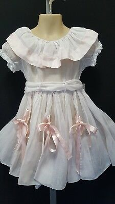 "Vtg ""elena Diran Original""  Full Circle Pink Sheer Organza? Big Collar Dress 4"
