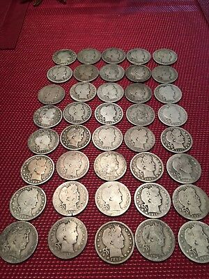 Barber Head Quarter Roll VG $10.00 face value early dates different mints.