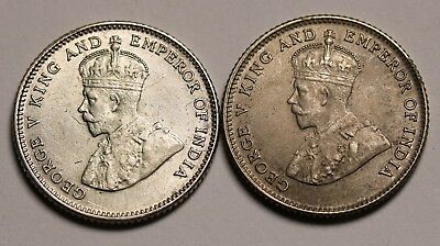 1926 & 1927 Straits Settlements 10 Cents Coins KM# 29b Silver George V -