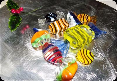 Glass Murano - 6 Large Lollies Made In Italy including New Glass Star  Dish